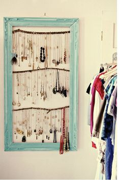 So cute! Use tree branches, a big frame and little hooks from home depot and and voila! You have a necklace organizer/holder!