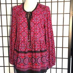 ❤Sweet NWT Red & Fucshia Smock Tunic❤️ New & Super Cute Red Fuschia Blk & W smock tunic w/ drop waist  and tie @ neckline w/ gold hardware Black Rainn Tops Tunics