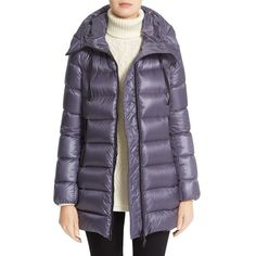 Women's Moncler 'suyen' Water Resistant Hooded Down Puffer Coat ($1,225) ❤ liked on Polyvore featuring outerwear, coats, slate blue, purple coat, down filled puffer coat, blue parka, hooded puffer coat and parka coat