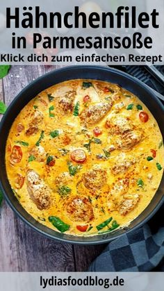 chicken fillet in a creamy cream cheese parmesan sauce is simply delicious . -This chicken fillet in a creamy cream cheese parmesan sauce is simply delicious . Healthy Food Recipes, Dinner Recipes, Dinner Ideas, Vegetarian Meals, Chicken Recipes, Pasta Recipes, Food Porn, Food And Drink, Tasty