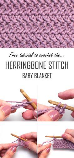 For Beginners Easy Crochet The Herringbone Stitch Double Crochet Baby Blanket Crochet Baby Blanket Tutorial, Beginner Crochet Tutorial, Beginner Crochet Projects, Crochet Blanket Patterns, Easy Crochet Baby Blankets, Crochet Stitch Tutorial, Double Crochet Baby Blanket, Easy Crochet Stitches, Crochet Stitches For Beginners