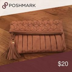 Urban expressions clutch w/ fringe tassel Rose pink gold zipper Urban Expressions Bags Clutches & Wristlets