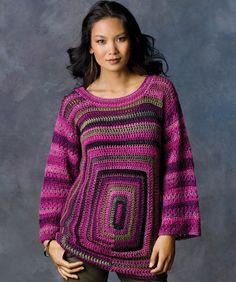 Use two shades of wonderful shaded yarn to crochet echoing squares for the front of this stand-out sweater. Back and sleeves are crocheted with just one color.
