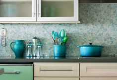 I wonder if I can find something like this with a splash of RED...blue-glass-backsplash-tile-Kitchen-Traditional-with-blue-mosaic ...