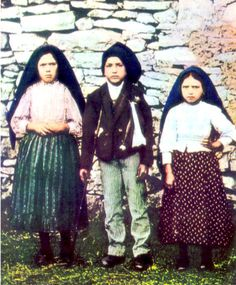 Left to Right: Lucia dos Santos and her Cousins, Francisco Marto and his Sister Jacinta Marto: The Three Visionaries of Fatima