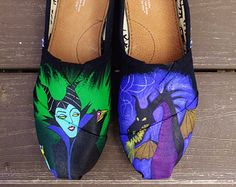 Hand Painted Disney Maleficent Themed TOMS