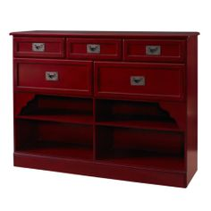 Powell Antique Crimson Red Oriental Asian Accent Storage Cabinet Console Table | eBay