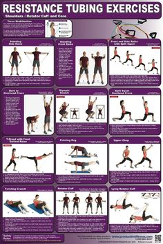 Resistance Tubing Exercise Poster 2 This full-color poster features 12 Resistance Tubine exercises for working the shoulders, rotator cuff and core. All exercises are clearly explained with step-by-step instructions and descriptive… Resistance Tube, Resistance Band Exercises, Rotator Cuff Exercises, Ab Workout At Home, At Home Workouts, Workout Routines, Fitness Routines, Extreme Workouts, Workout Motivation