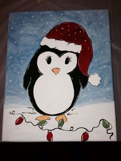 Cute penguin canvas paint idea for wall decor. Canvas painting. Wall art. Merry Christmas. Winter. Red, green, blue, black and white. Christmas lights.
