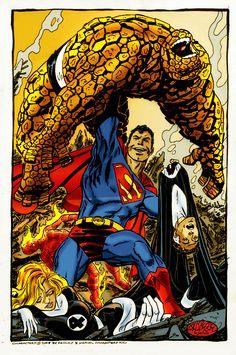 crossover superman vs fantastic four by namorsubmariner on DeviantArt Comic Book Artists, Comic Book Characters, Comic Book Heroes, Marvel Characters, Comic Artist, Comic Character, Comic Books Art, Marvel Dc Comics, Marvel Heroes