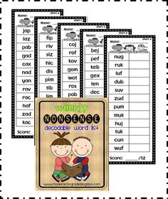 Use these for weekly decoding checks using nonsense words. #reading #ece #kinderchat