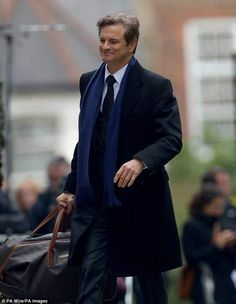 Colin Firth on set in Islington, London, during filming of Bridget Jones's Baby, the third instalment of the Bridget Jones franchise Bridget Jones Baby, James Bond Style, Actor Quotes, Ivy League Style, Mr Darcy, Renee Zellweger, Patrick Dempsey, Taron Egerton, Colin Firth