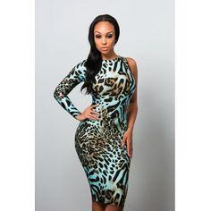 USD9.99Cheap Sexy O Neck One Shoulder Long Sleeve Backless Leopard Polyester Sheath Mini Dress