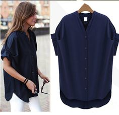2015 Womens Batwing Short Sleeve V Neck Loose Casual Chiffon T Shirt Blouse Top Plus Size Blouses, Plus Size Tops, Shirt Blouses, T Shirt, Blusas Top, Spring Shirts, Casual Tops For Women, Chiffon Shirt, Blouse Styles