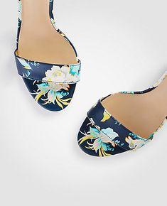 c42feb187be1e5 Leannette Floral Leather Block Heel Sandals