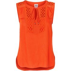 Vero Moda Meshed Sleeveless Blouse ($22) ❤ liked on Polyvore featuring tops, blouses, shirts, sleeveless tops, poinciana, crochet top, mesh shirt, mesh top, mesh blouse and orange blouse