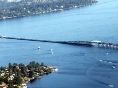 Evergreen Point Floating Bridge  Background: This floating bridge, which was completed in 1966, carries State Route 520 from Seattle to Medina, Washington. At 1.4 miles long, it has one of the longest floating spans in the world.