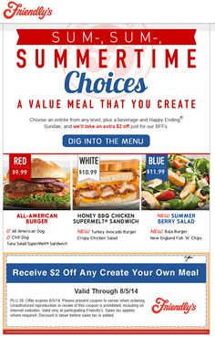 Pinned August 4th: $2 bucks off your meal at #Friendlys restaurants #coupon via The #Coupons App