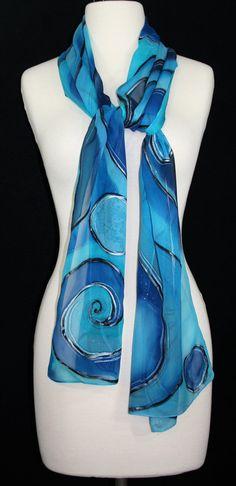 Blue Silk Scarf Hand Painted Chiffon Shawl BLUE PLANETS 6592aa5dd0