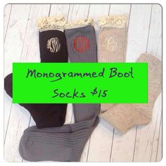 BROWN  Monogrammed Boot Socks by MyMimiMadeIt2013 on Etsy