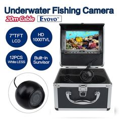 (235.79$)  Watch now  - Eyoyo Original 20m Underwater Fishing Camera HD 1000TVL Video Camera Fish Finder 7 inch LCD Color Monitor 12PCS White LED