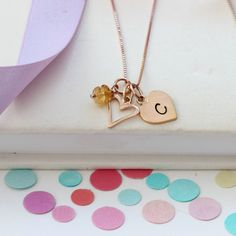 This mini rose gold open heart pendant necklace can be personalised with letter charms and November birthstone gemstones to celebrate the life of a child. Heart Locket, Heart Pendant Necklace, Gemstone Necklace, Crystal Necklace, Birthstone Charms, Birthstone Necklace, Topaz Jewelry, Jewellery, Letter Charms
