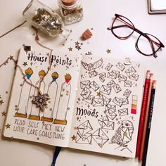 Harry Potter Themed Habit Tracker and Mood Tracker for your Bullet Journal Harry Potter Themed Habit Tracker und Mood Tracker für Ihr Bullet Journal Bullet Journal Tracker, Bullet Journal Disney, Bullet Journal Mood, Bullet Journal Ideas Pages, Bullet Journal Spread, Journal Pages, Bullet Journals, Monthly Bullet Journal Layout, Harry Potter Journal