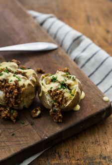 Cheesy BBQ (with no meat) loaded Potatoes