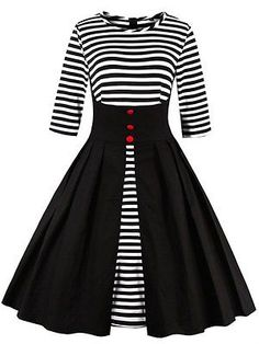 ZAFUL Women plus size Vintage dress hepburn elegant long sleeve stripe robe  feminino Ball Gown Party Retro Dress Vestidos 643b07f2e911