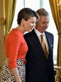 Belgium King Philippe (R) and Queen Mathilde look on during a reception for the winners of the Women of Peace award from 2012, 2014 and 2016, at the Royal Palace on March 8, 2017 in Brussels, as part of International Women's Day.