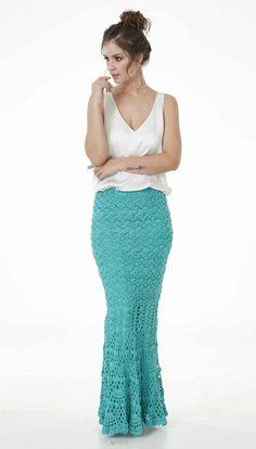 Saia Charme Tiffany • Círculo S/A Crochet Skirts, Crochet Clothes, Crochet Stitches, Crochet Patterns, Lace Skirt, Sequin Skirt, Prom Dresses, Formal Dresses, Crochet Projects