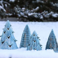 Ran out in the fresh snow ❄️ to snap these this morning. I'm really in love with these blue 🌲. If no one buys them I'm keeping them for myself! 😂 Anyway, they're still up for grabs in my shop. Plus I'm having a sale on trees this week, so get while the getting is good. 💥⚡️Link in profile. ☝🏻
