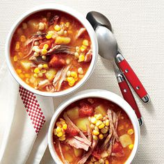Summer Brunswick Stew   A light, summery broth lets the flavors of fresh-picked corn and lady peas shine. Stir in whatever barbecue sauce you have on hand.   #Recipes   SouthernLiving.com