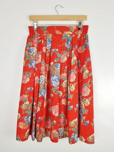 6b149fea10 Vintage 50s Style St Michael Red Floral Print Pleat Midi Skirt Size 8 10  Small
