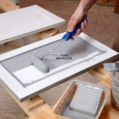 Paint with a mini roller: A good painter can work wonders with a brush, but for most of us a mini roller is a great alternative. You'll find mini roller frames and sleeves at home centers and paint st Diy Kitchen Cabinets, Kitchen Paint, Kitchen Redo, New Kitchen, Kitchen Design, Oak Cabinets, Kitchen Ideas, Country Kitchen, Kitchen Backsplash