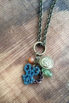 Upcycled Charm Necklace: Brass anchor by Five17Designs on Etsy
