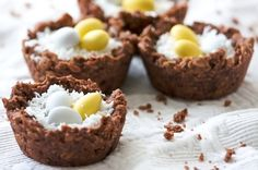 Easter Nest Cookies .. used white coconut but easy to tint coconut green for filling. Cute with Cadbury eggs.