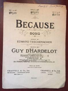 Because Song Sheet Music Edward Teschemacher Guy D'Hardelot 1902
