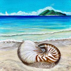Flotsam And Jetsam, Different Media, Nautilus, Tropical Paradise, Colours, Sunset, Canvas, Painting, Art