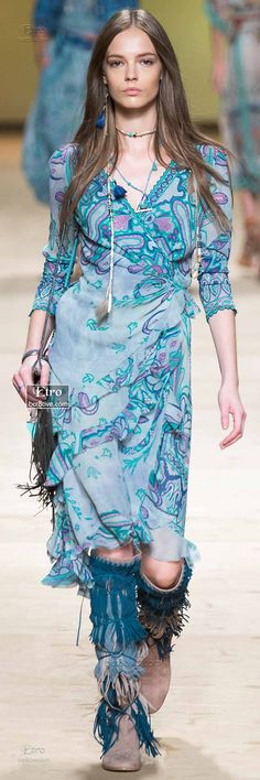 Aqua Wrap Dress and Moccasins
