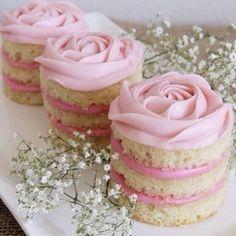 "Mini Coconut Raspberry Valentine's Day ""Naked"" Cakes Mini Cakes, Cupcake Cakes, Naked Cakes, Rosette Cake, Biscuits, Valentines Day Cakes, Gateaux Cake, Wedding Desserts, Love Cake"