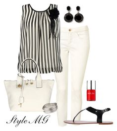 """""""Black and white summer chic"""" by romigr99 ❤ liked on Polyvore featuring Topshop, Armani Exchange, Aqua, White House Black Market, Nails Inc. and sandals"""