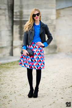 Blue + red. #PFW Chiara Ferragni. Street Style at Paris Fashion Week Fall 2012. Photo: Adam Katz Sinding / Le 21ème http://le-21eme.com/chiara-ferragni-paris-2/