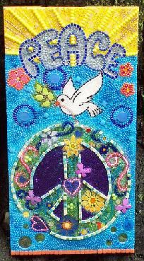 Mosaic Dove with Peace Sign