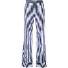 MSGM striped straight trousers ($265) ❤ liked on Polyvore featuring pants, blue, cotton trousers, blue cotton pants, white cotton pants, striped pants and msgm