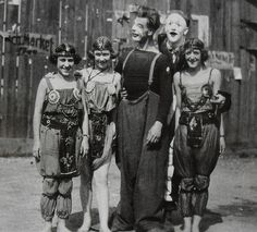 1930s MEN and WOMEN of CIRCUS in makeup and costume vintage photo