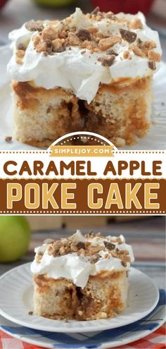 Fall get-togethers call for this sweet treat! Combined with apple pie filling and soaked in caramel sauce, this poke cake is super addictive. Turn to this easy apple recipe for an awesome Thanksgiving dessert! Caramel Poke Cake Recipe, Caramel Apple Dump Cake, Caramel Apple Bars, Poke Cake Recipes, Cupcake Recipes, Caramel Apples, Poke Cakes, Apple Poke Cake, Apple Dump Cakes