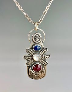 Sapphire, Ruby and Moonstone Necklace Moonstone Necklace, Pendant Necklace, Artisan Jewelry, Handmade Jewelry, Metal Jewelry, Precious Metals, Sapphire, Beauty, Design