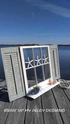 old painted window,window and shutters,SOLD Shabby Chic window,repurposed window… Window Shutters Decor, Shutter Decor, Window Art, Window Frames, Bedroom Shutters, Window Blinds, Old Window Decor, Old Window Projects, Shutter Projects