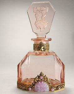 ~ Pink Czech Jeweled Perfume Bottle Cupids on Rose Stopper ~